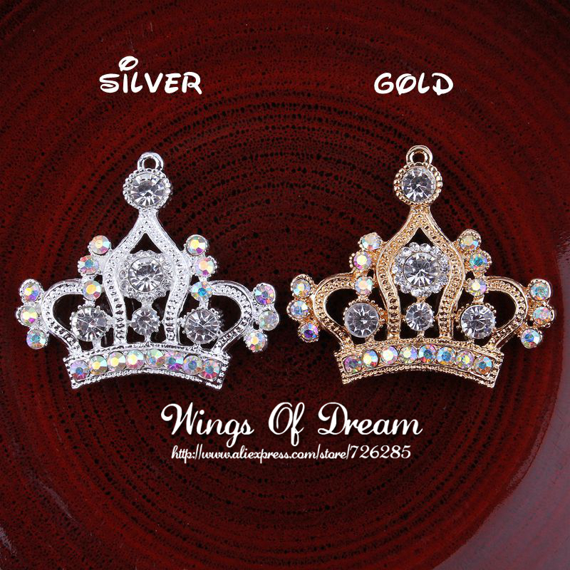 (120pcs/lot) GOLD and SILVER Vintage Handmade Metal Rhinestone Crown Charm For Pendants Jewelry Clear Alloy Crystal Tiara Charms<br><br>Aliexpress