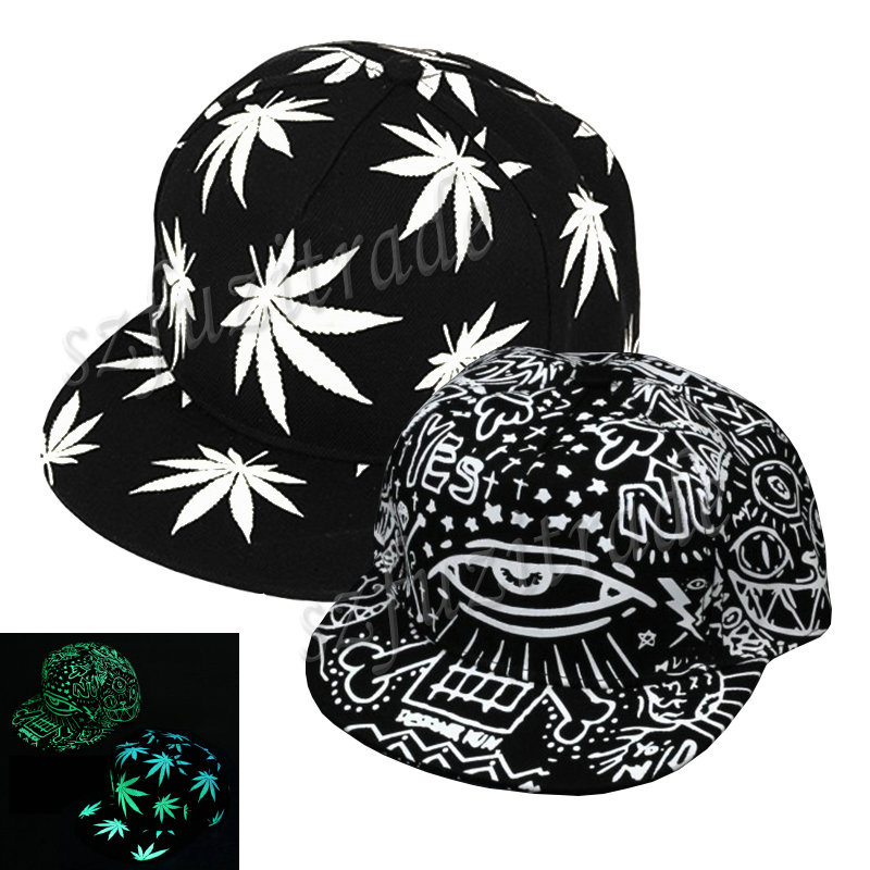 New Luminous Glow Caps Hat Luminous Eyes Leaves Hip Pop Snapback Baseball Cap Party Dance Fashion Adjustable Hats AJA00121#2(China (Mainland))
