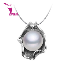 ZJPEARL 2016 new  Free ShIpping design 10-11mm Pure Pearl Pendant Good Spherical White Freshwater Pearl in 925 Silver