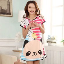 C73 Free Shipping New women's dresses indoor clothing  Cartoon pajamas Polka Dot Sleepwear  Short Sleeve Sleepshirt Sleepdress(China (Mainland))