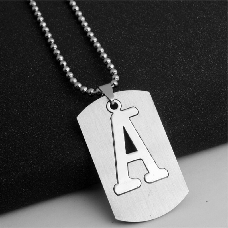 2017 new trendy Stainless steel chain male long titanium steel pendant necklace for men letter necklace men pendants & necklaces(China (Mainland))