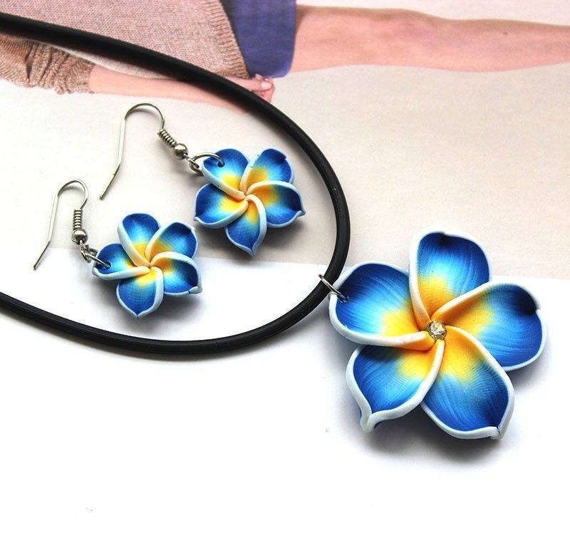 Stylish Blue Hawaii Flowers Crystal Polymer Clay Earrings Pendant Necklace Set(China (Mainland))
