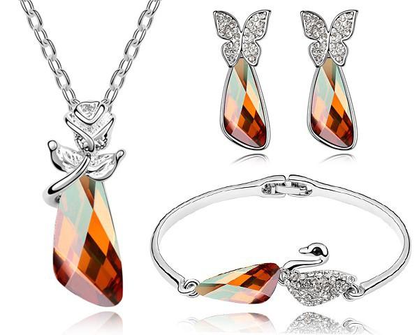 100% Austrian Crystal Bangle Earrings Necklace Jewelry Sets Women Bijouterias Bijuterias White Gold Plated Top Jewelry STZ0034