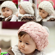 Kids Girls Baby Handmade Crochet Knitting Beret Hat Cap Cute Warm Beanie Free Shipping Drop Shipping(China (Mainland))