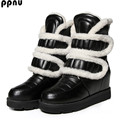 ppnu woman winter mid calf snow boots women fashion loop womens half knee boots ladies shoes