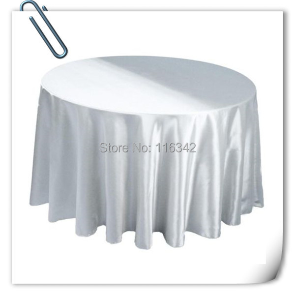 Retail cheap!!! white 90inch 10pcs Satin table cloth for weddings parties hotels restaurant Free Shipping(China (Mainland))