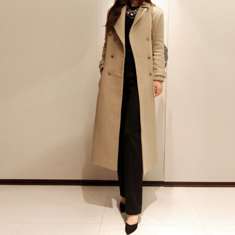 Plus Size Woman Exclusive New Long Winter Woolen Coat, Elegant Slim Overcoat, Femal Woollen Coat, Turn-down Collar Outerwear(China (Mainland))