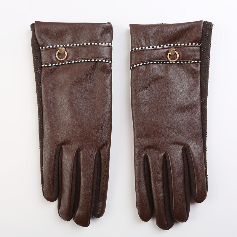 Fashion Touch Screen Gloves Leather gloves women Mittens Wrist Heated solid Winter Gloves in women's gloves for females Outdoor(China (Mainland))