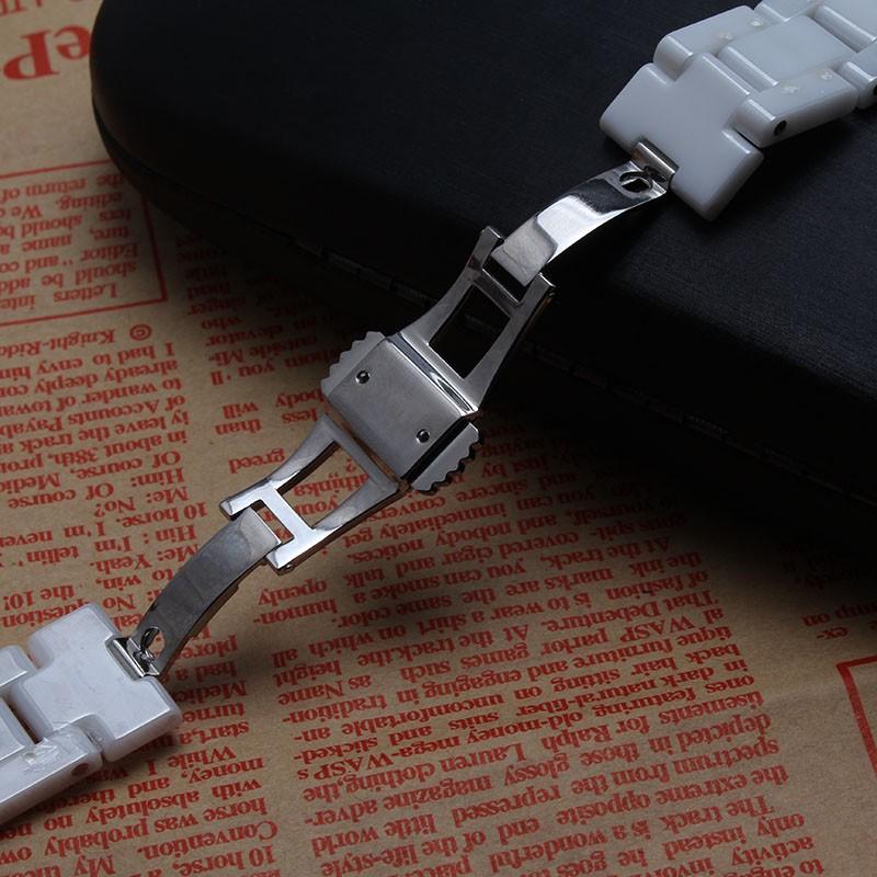 Новое поступление 2016 ремешок для часов керамические черный белый 15 мм 17 мм для часов мода яркий часы аксессуары изогнутые специальные горячая