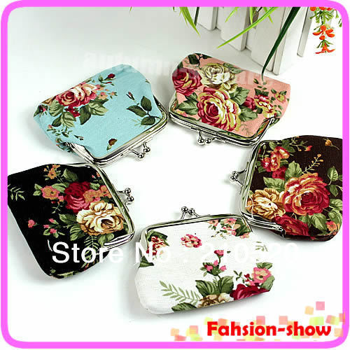 Free Shipping Retro Mini Purse Women Girls Roses Floral Fabric Clip Package Hand Coin Bag Pocket On Sale!<br><br>Aliexpress