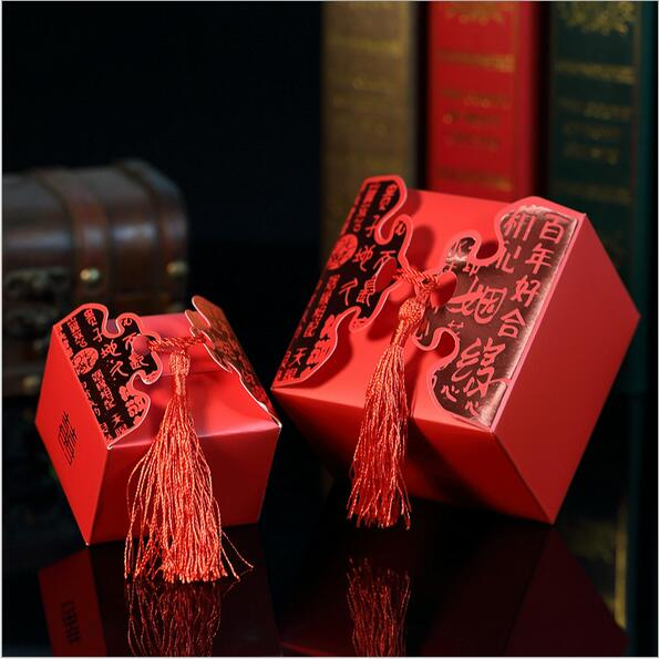 Cheap Wedding Favor Boxeswith Ribbon Red Chinese Wedding Candy Box Casamento Wedding Favors And Gifts Boxes(China (Mainland))