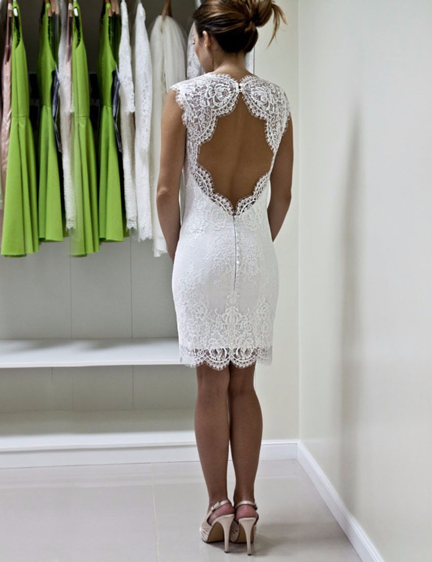 White lace short wedding dresses sexy open back sheath for Short open back wedding dresses