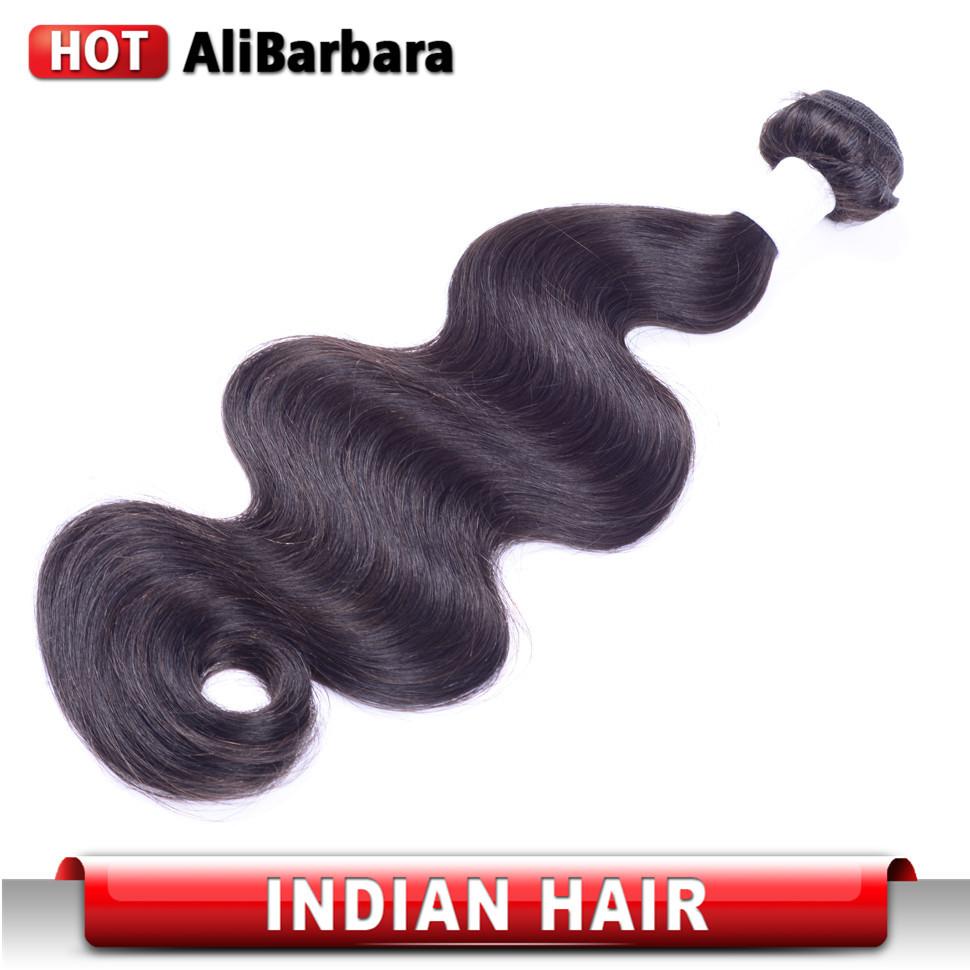 Фотография 7A Unprocessed 1 bundle Indian Virgin Hair Body Wave Indian Body Wave Indian Virgin Human Hair Weave Alibarbara Hair Products