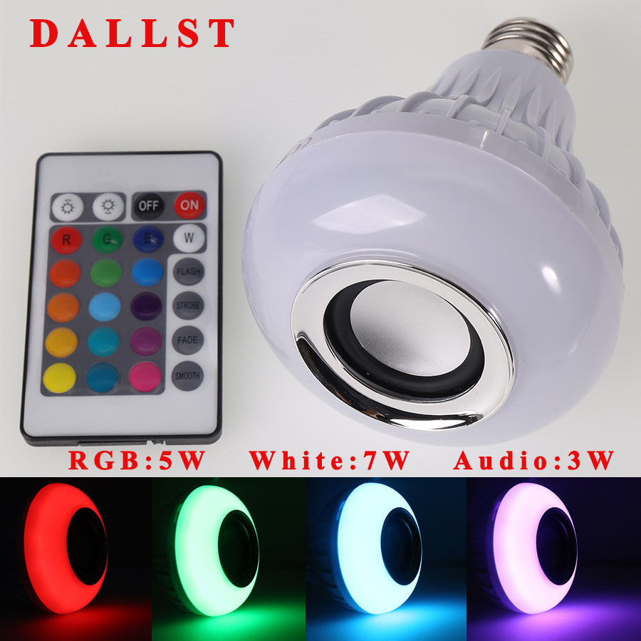 led lamp wireless rgb bulb bluetooth lampada speaker lamparas rc ampoule e27 85v 265v bombillas. Black Bedroom Furniture Sets. Home Design Ideas