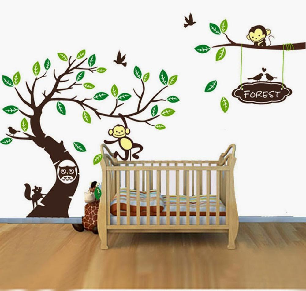 Personalised name monkey tree wall art stickers kids for Diy tree mural nursery