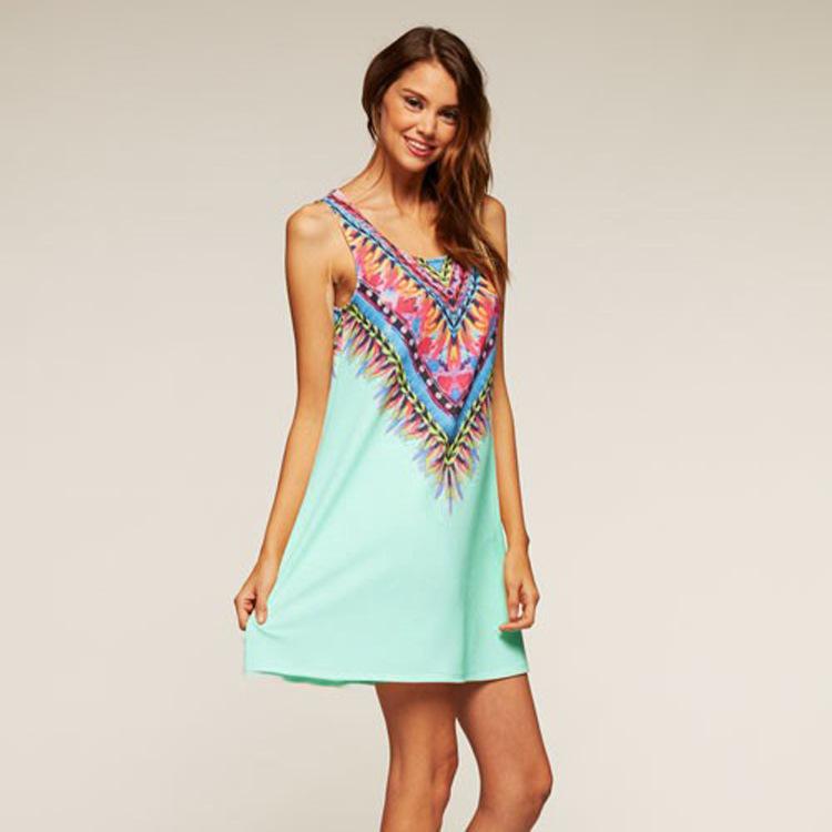 Платье без рукавов лето, женщины цифровая печать воротник-хомут   A качающиеся пляж дамы