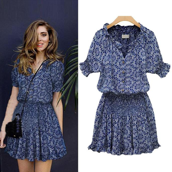 2015 Fashion Plus Size Womens Summer Casual Dress Sexy Floral Pattern Mini Loose Short Sleeve Party Dress Free Ship Wholesale(China (Mainland))
