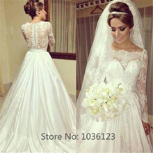Vestidos de noiva Sweetheart Floor Length Sweep Train Satin Long Sleeve Lace Wedding Dresses 2015 Women