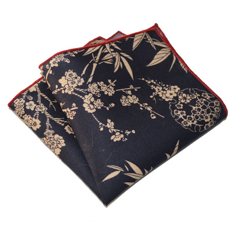 2016 New Arrival Cotton Jacquard Woven Vintage Flower Pocket Square Towel Adult Men Wedding Handkerchief Chinese Style Hanky(China (Mainland))