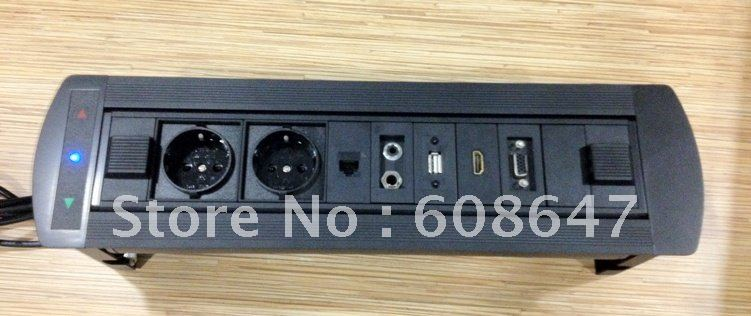 motorized office desk outlet with 2 eu power+1 network+1 mic&audio+1USB+1 HDMI+1 VGA(China (Mainland))