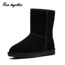 Envío gratis mujeres de punta redonda botas de nieve de Invierno zapatos calientes de las mujeres estilo de Australia Classic tall botas de cuero Reales 5803(China (Mainland))