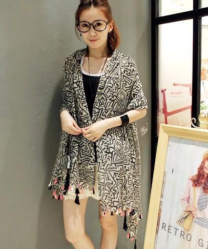 Япония и южная корея стиль лабиринт шаблон поток геометрия кисточки осенью женский шарф