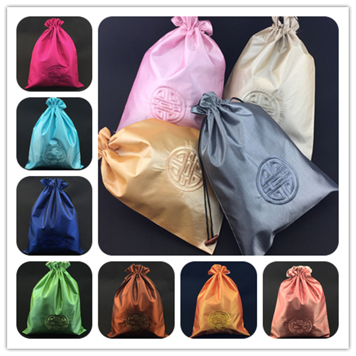Unique Embroidery Lucky Shoe Bags Travel Protective Covers High End Chinese style Bunk Silk Fabric Drawstring Packaging Pouches(China (Mainland))