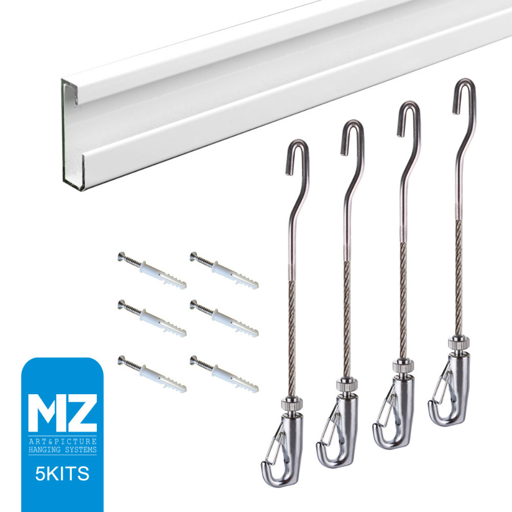 Free shipping MZ art hanging system gallery picture rail ,hanging picture,J-hook 180cm cable,5kits morden rail(China (Mainland))