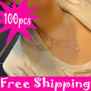 Free Shipping Wholesale Silver Short Double layer heart-shaped Necklaces Heart Pendants charms necklace women sweater chain(China (Mainland))