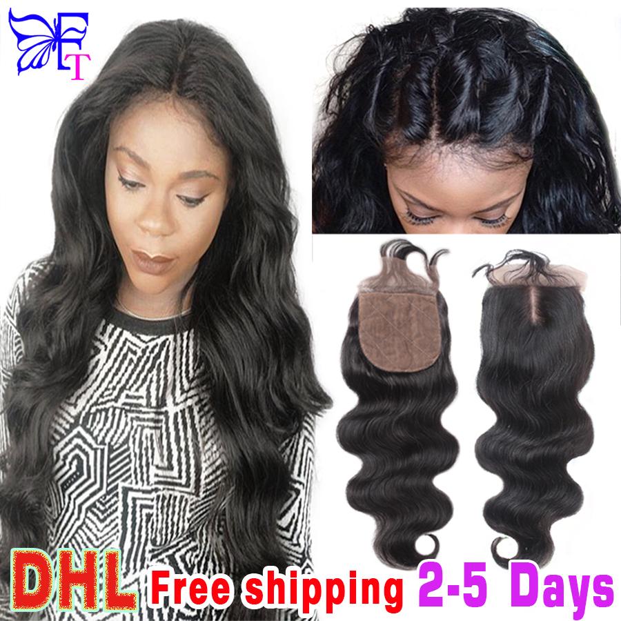Cheap Brazilian Silk Base Closures Straight 100% Human Hair Silk Lace Closure Free Middle 3 Part Silk Top Closure Bleached Knots<br><br>Aliexpress