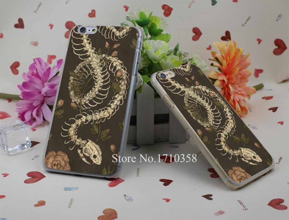 snake skeleton Hard Plastic Clear Back Transparent Style Case Cover for iPhone 7 7 Plus 4 4s 5 5s 5c 6 6s 6 plus s
