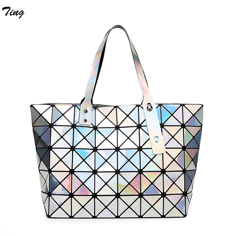High quality ladies geometry party handbags issey solid Large Top-handle bags miyake leisure tote shoulder bag BaoBao Daily Bag(China (Mainland))
