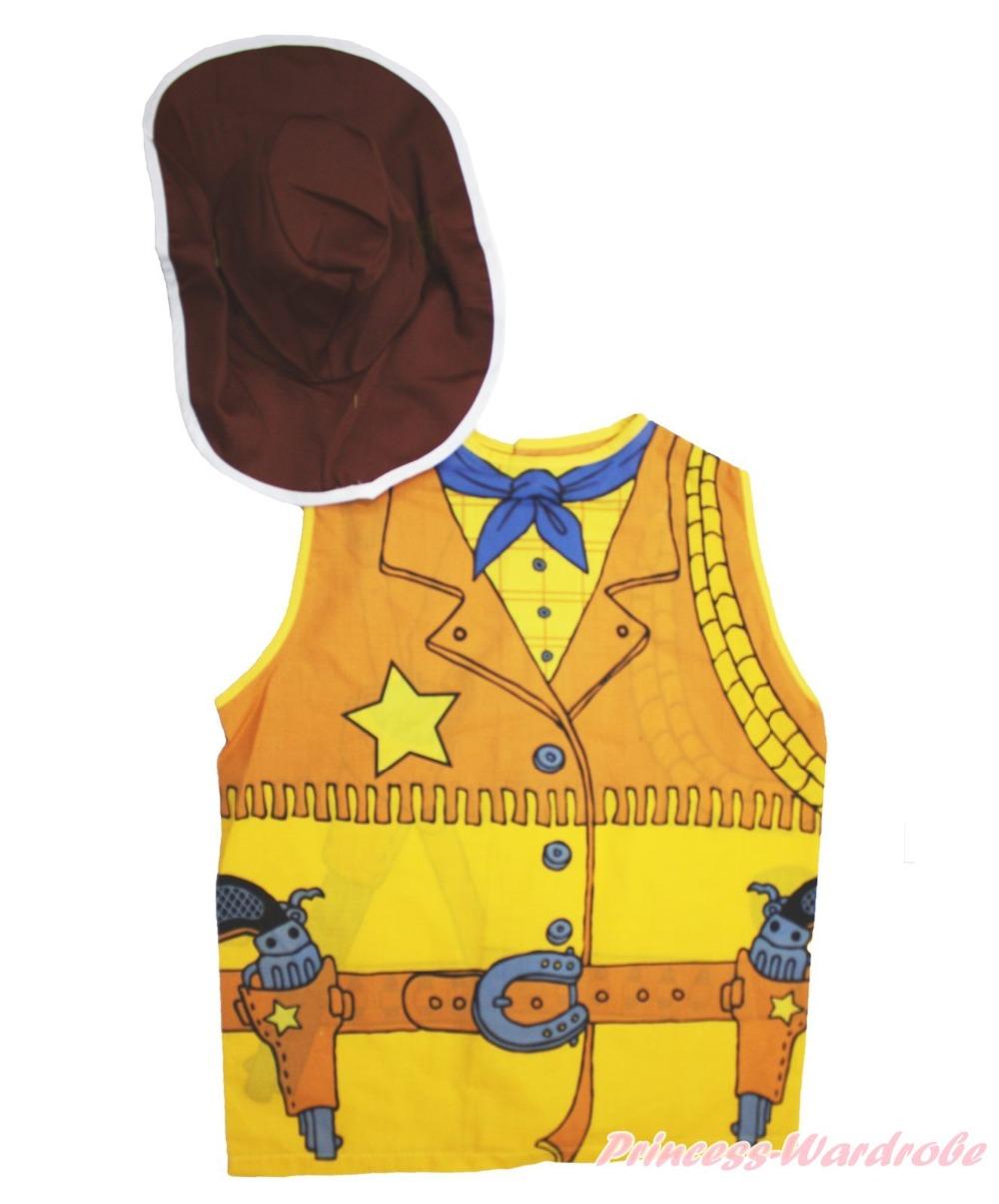 Halloween Party Western Cowboy Vest Top Hat Dress Up Kids Unisex Costume Set(Hong Kong)