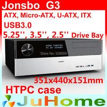 Retail box, free gift 12cm fan, HTPC case ATX, USB3.0, 3.5'' HDD, ATX power supply, Jonsbo G3, other V2, V3+, V4, U1, U2, V6(China (Mainland))