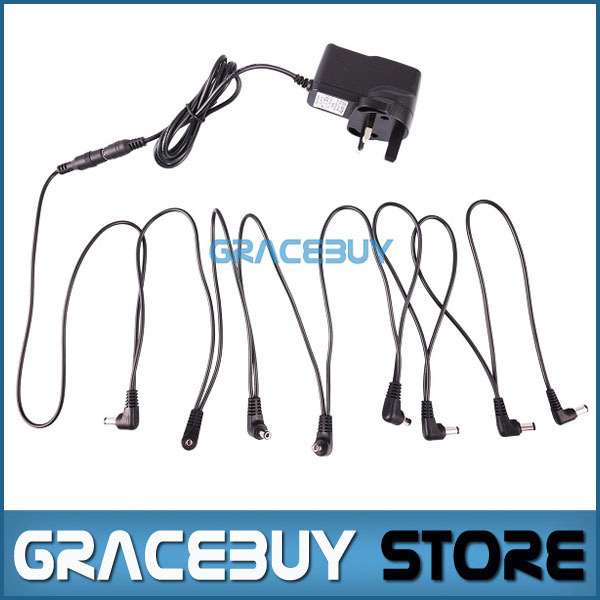 UK 9V DC 1A Guitar Effects Power Supply Adapter / Adaptor + Vitoos Power Cord 8 Way Chain Cable Kit For Pedal(China (Mainland))