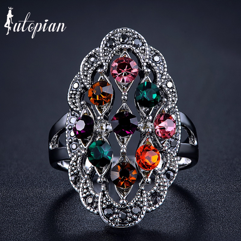 Iutopian Brand Elegant Vintage Retro Ring Anels For Women Antique Silver Plated 4 Colors Top Quality #1821(China (Mainland))