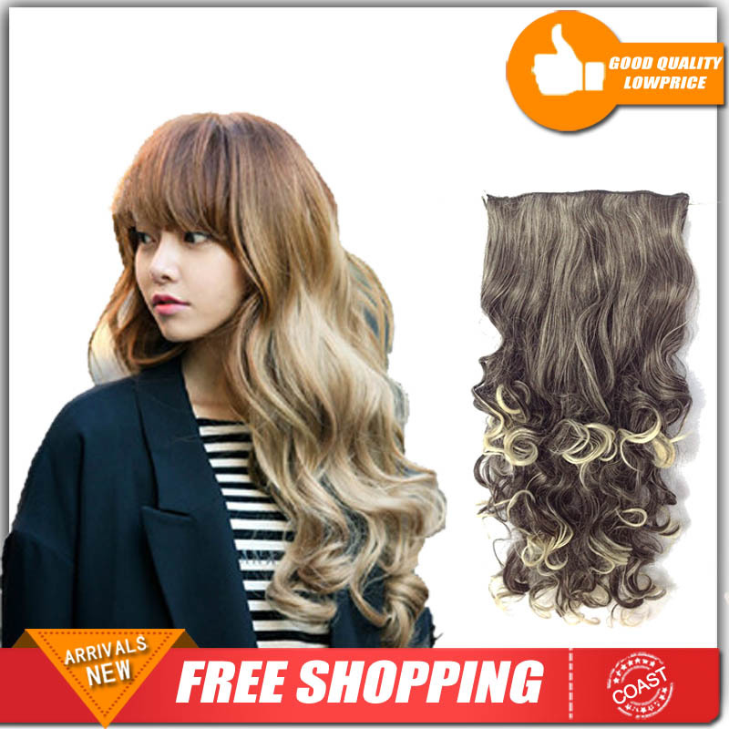 "24"" (125g) Long Kinky Curly Micro Loop Hair Extension Clip On Hair Extensions Hairpieces For Women Free Shipping(China (Mainland))"