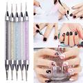 5Pcs Crystal 2 Way Nail Art Pen Dotting Painting Drawing Brush Tool Set 2 Ways Dotting