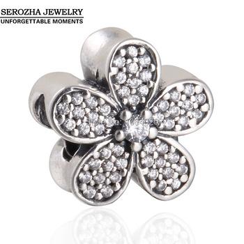 Pavimenta Zircon claro los encantos de la margarita adapta pulseras Pandora auténtica plata de ley 925 flor de la margarita del encanto Diy joyería de primavera 2015