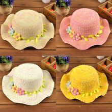 2015 Summer Ribbon Baby Girl Straw Sun Hats Kids Floppy Children Beach Hat Collapsible Flower Caps chapeu feminino Free Shipping(China (Mainland))