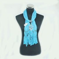 New Fashion High Quality Blue Woman Long Wrap Jewelry Charm Scarves resin charm shawl Pendant Factory Supply Wholesale