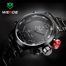 Top marque de luxe WEIDE hommes montres en acier complet hommes Quartz analogique horloge LED homme mode sport armée militaire montre-bracelet(China)