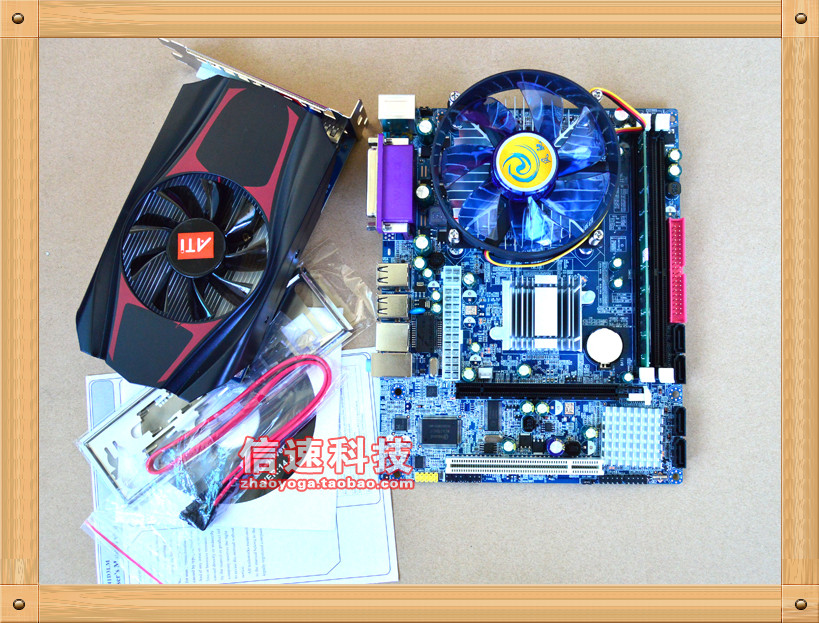 Free shipping New computer motherboard + Intel quad core CPU+DDR3 memory 4G+1G independent graphics board Suite(China (Mainland))