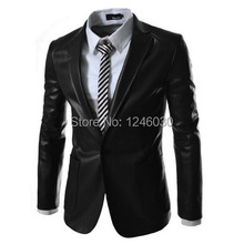 2015 black Short PU leather motorcycle suit jacket men slim leather collar casual business suit(China (Mainland))