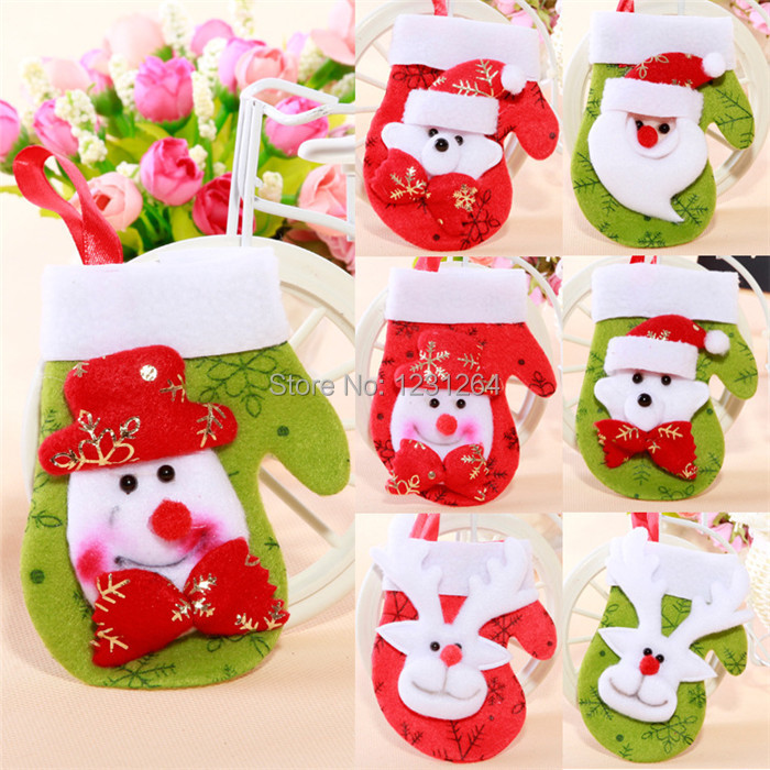 2015 Sale Well Christmas Socks Christmas Festival Small Gloves And Small Doll Socks Accessories For The Christmas Tree To Hang(China (Mainland))