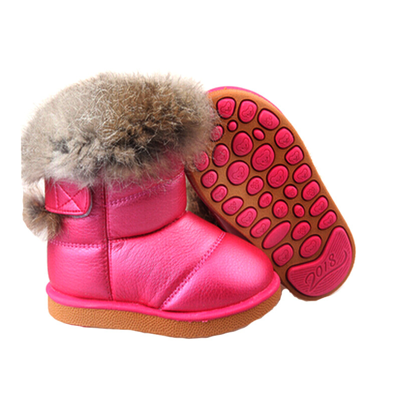 Wholesale 2016 Children's NEW Real Rabbit Fur Ankle Snow Boots EU21-30 Kids Shoes Girls Boots Warm Plush Waterproof Winter Soft(China (Mainland))