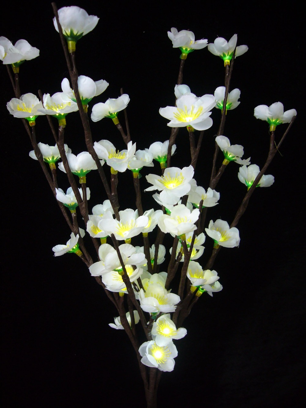 "24V Adaptor Type White LED Blossom Plum Branch Light 20"" 60 LED Christmas branch light wedding table decoration(China (Mainland))"