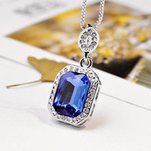 Vintage Costume Royalblue Pendant Necklace Square Charm Silver Plated Fashion Accessories Gift Party(China (Mainland))