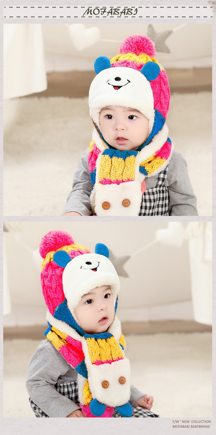 Heat! 2016 baby hat cute winter newborn baby boy baby hat head set + scarves two sets of children hats winter free shipping