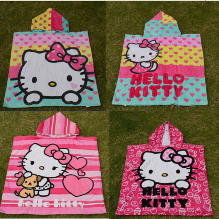 Free shipping 2015 new microfiber towel hello Kitty hooded large bath towel, lovely children beach towel(China (Mainland))